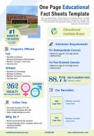 One Page Educational Fact Sheets Template Presentation Report Infographic PPT PDF Document