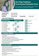 One Page Employee Performance Evaluation Form Presentation Report PPT PDF Document