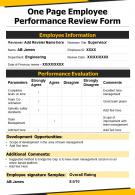 One Page Employee Performance Review Form Presentation Report Infographic PPT PDF Document