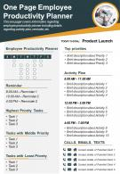 One Page Employee Productivity Planner Presentation Report Infographic PPT PDF Document