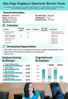 One Page Employee Quarterly Review Form Presentation Report Infographic PPT PDF Document