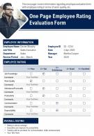 One Page Employee Rating Evaluation Form Presentation Report PPT PDF Document