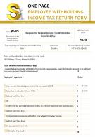 One Page Employee Withholding Income Tax Return Form Presentation Report PPT PDF Document