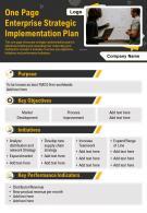 One Page Enterprise Strategic Implementation Plan Presentation Report Infographic PPT PDF Document