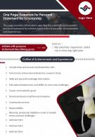 One Page Essentials For Personal Statement For Scholarship Presentation Report Infographic PPT PDF Document