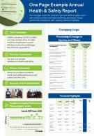 One Page Example Annual Health And Safety Report Presentation Report Infographic PPT PDF Document