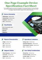 One Page Example Device Specification Fact Sheet Presentation Report PPT PDF Document