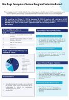 One Page Examples Of Annual Program Evaluation Report Presentation Report Infographic PPT PDF Document