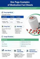 One Page Examples Of Medication Fact Sheets Presentation Report PPT PDF Document