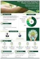 One Page Executive Summary For Forestry Conservation Plans Presentation Report Infographic PPT PDF Document