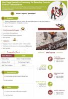 One Page Executive Summary For Forestry Plans To Control Deforestation Report Infographic PPT PDF Document