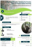 One Page Executive Summary For Forestry Plans To Prevent Animal Poaching Report Infographic PPT PDF Document