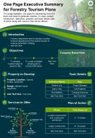 One Page Executive Summary For Forestry Tourism Plans Presentation Report Infographic PPT PDF Document