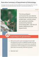 One Page Executive Summary Of Department Of Entomology Presentation Report Infographic PPT PDF Document