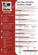 One Page Executive Summary Sample Presentation Report Infographic PPT PDF Document
