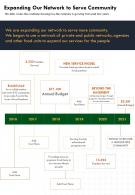 One Page Expanding Our Network To Serve Community Report Infographic PPT PDF Document