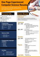 One Page Experienced Computer Science Resume Presentation Report Infographic PPT PDF Document