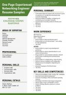 One Page Experienced Networking Engineer Resume Samples Presentation Report Infographic PPT PDF Document