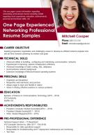 One Page Experienced Networking Professional Resume Samples Presentation Report Infographic PPT PDF Document