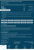 One Page Experienced Software Developer Resume Report Presentation Report Infographic PPT PDF Document