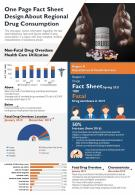 One Page Fact Sheet Design About Regional Drug Consumption Report PPT PDF Document