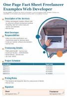 One Page Fact Sheet Freelancer Examples Web Developer Presentation Report PPT PDF Document