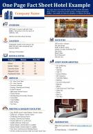 One Page Fact Sheet Hotel Example Presentation Report Infographic Ppt Pdf Document