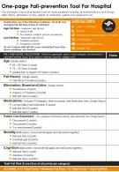 One Page Fall Prevention Tool For Hospital Presentation Report Infographic PPT PDF Document