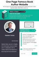 One Page Famous Book Author Website Presentation Report Infographic PPT PDF Document