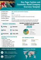 One Page Fashion And Cosmetics Retail Company Overview Template Presentation Report Infographic PPT PDF Document