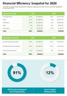 One Page Financial Efficiency Snapshot For 2020 Presentation Report Infographic PPT PDF Document
