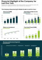 One Page Financial Highlight Of The Company For Last Five Year Report Infographic PPT PDF Document