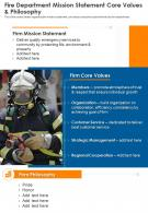 One Page Fire Department Mission Statement Core Values And Philosophy Template 175 Infographic PPT PDF Document