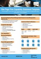 One Page Firm Capability Statement Template Presentation Report Infographic PPT PDF Document