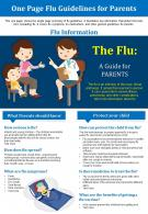 One Page Flu Guidelines For Parents Presentation Report Infographic PPT PDF Document