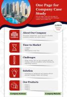 One Page For Company Case Study Presentation Report Infographic PPT PDF Document