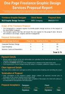One Page Freelance Graphic Design Services Proposal Report Presentation Report Infographic PPT PDF Document