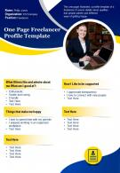 One Page Freelancer Profile Template Presentation Report Infographic PPT PDF Document