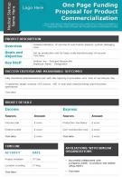 One Page Funding Proposal For Product Commercialization Presentation Report Infographic PPT PDF Document