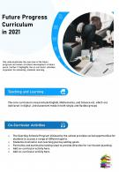 One Page Future Progress Curriculum In 2021 Presentation Report Infographic PPT PDF Document