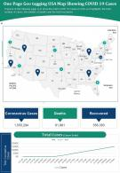 One Page Geo Tagging USA Map Showing COVID 19 Cases Presentation Report Infographic PPT PDF Document