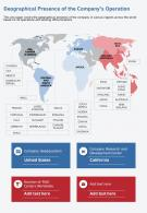 One Page Geographical Presence Of The Companys Operation Template 105 Infographic PPT PDF Document