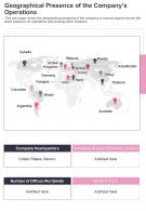 One Page Geographical Presence Of The Companys Operations Template 151 Report Infographic PPT PDF Document