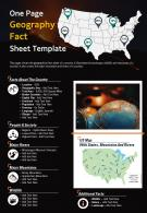 One Page Geography Fact Sheet Template Presentation Report Infographic PPT PDF Document