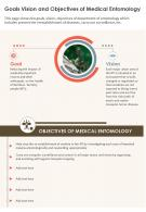 One Page Goals Vision And Objectives Of Medical Entomology Presentation Report Infographic PPT PDF Document