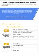 One Page Good Governance And Management Practices Report Infographic PPT PDF Document