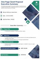 One Page Grant Proposal Executive Summary Presentation Report Infographic PPT PDF Document