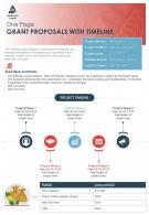 One Page Grant Proposals With Timeline Presentation Report Infographic PPT PDF Document