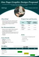 One Page Graphic Design Proposal Presentation Report Infographic PPT PDF Document
