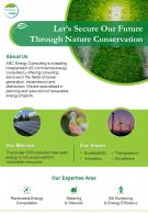 One Page Green Energy Consultant Brochure Template